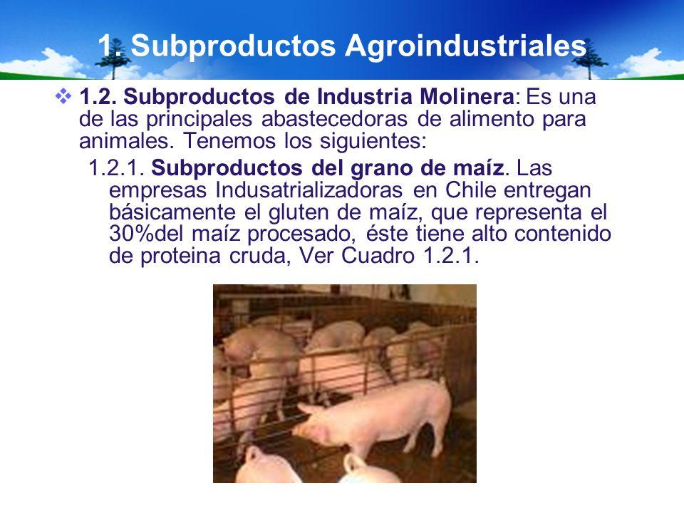 1. Subproductos Agroindustriales 1.2. Subproductos de Industria Molinera: Es una de las principales abastecedoras de alimento para animales. Tenemos l