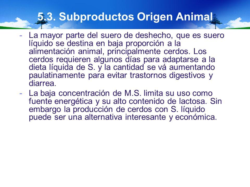 5.3. Subproductos Origen Animal -La mayor parte del suero de deshecho, que es suero líquido se destina en baja proporción a la alimentación animal, pr