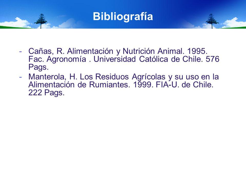 Bibliografía -Cañas, R. Alimentación y Nutrición Animal. 1995. Fac. Agronomía. Universidad Católica de Chile. 576 Pags. -Manterola, H. Los Residuos Ag