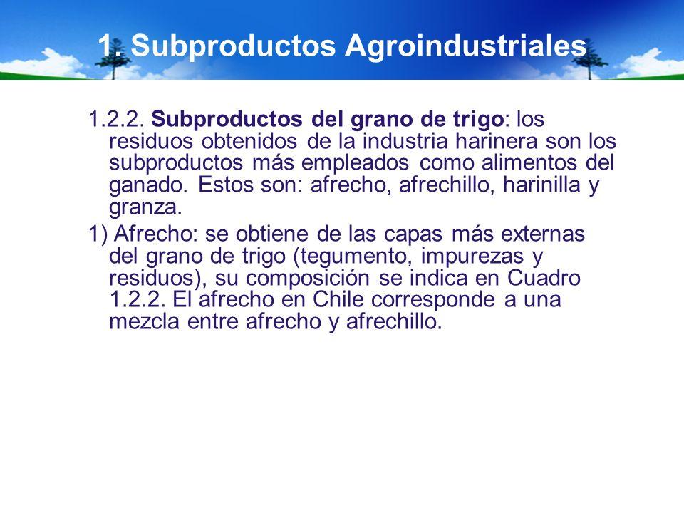 1. Subproductos Agroindustriales 1.2.2. Subproductos del grano de trigo: los residuos obtenidos de la industria harinera son los subproductos más empl