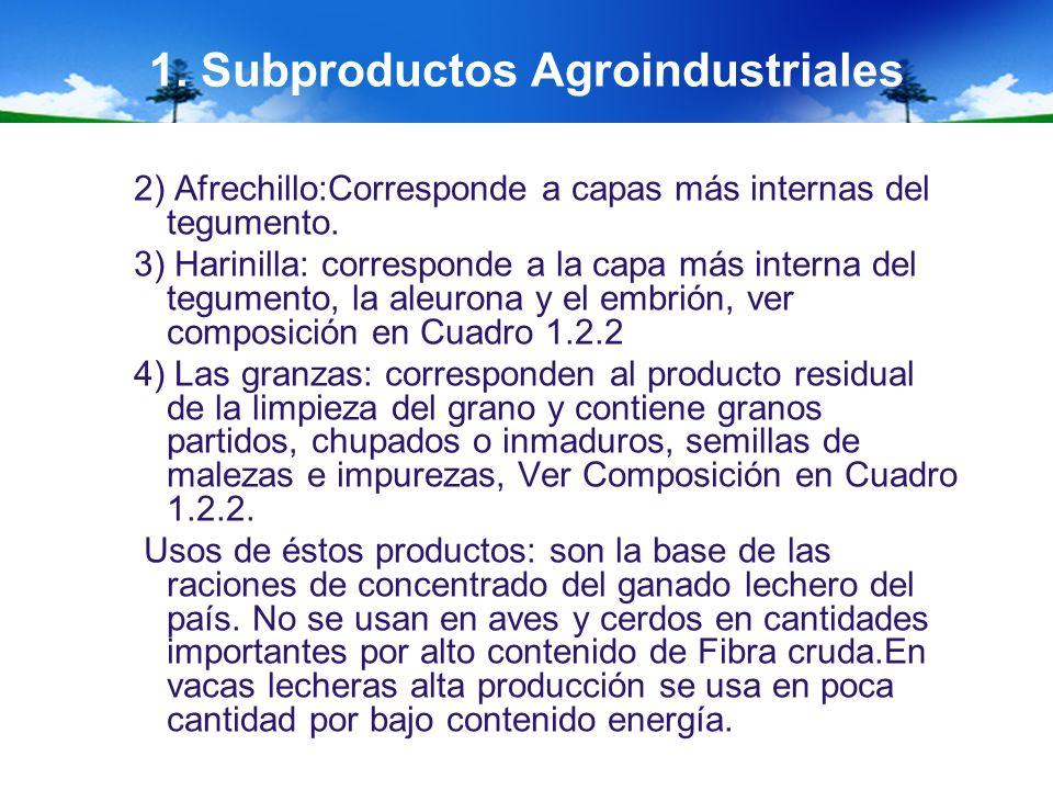 1. Subproductos Agroindustriales 2) Afrechillo:Corresponde a capas más internas del tegumento. 3) Harinilla: corresponde a la capa más interna del teg
