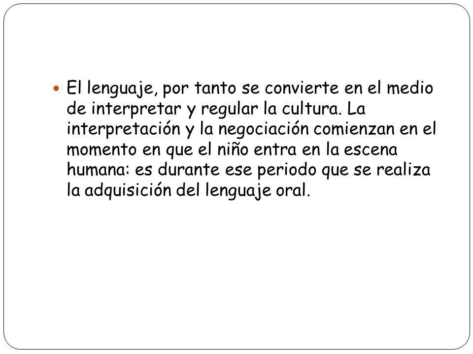 El lenguaje, por tanto se convierte en el medio de interpretar y regular la cultura. La interpretación y la negociación comienzan en el momento en que