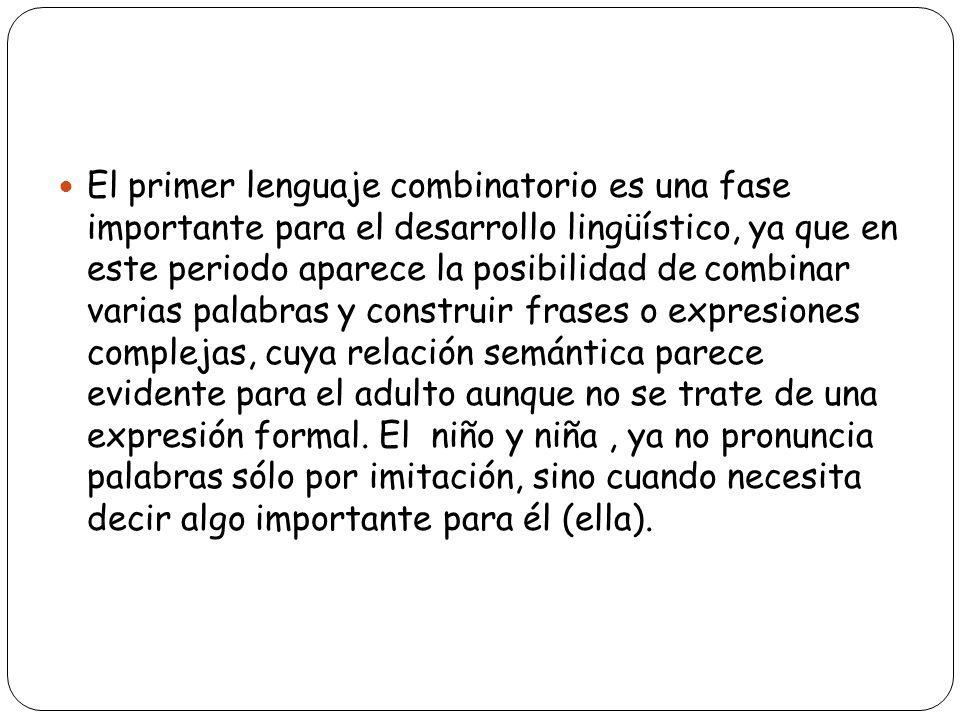 El primer lenguaje combinatorio es una fase importante para el desarrollo lingüístico, ya que en este periodo aparece la posibilidad de combinar varia