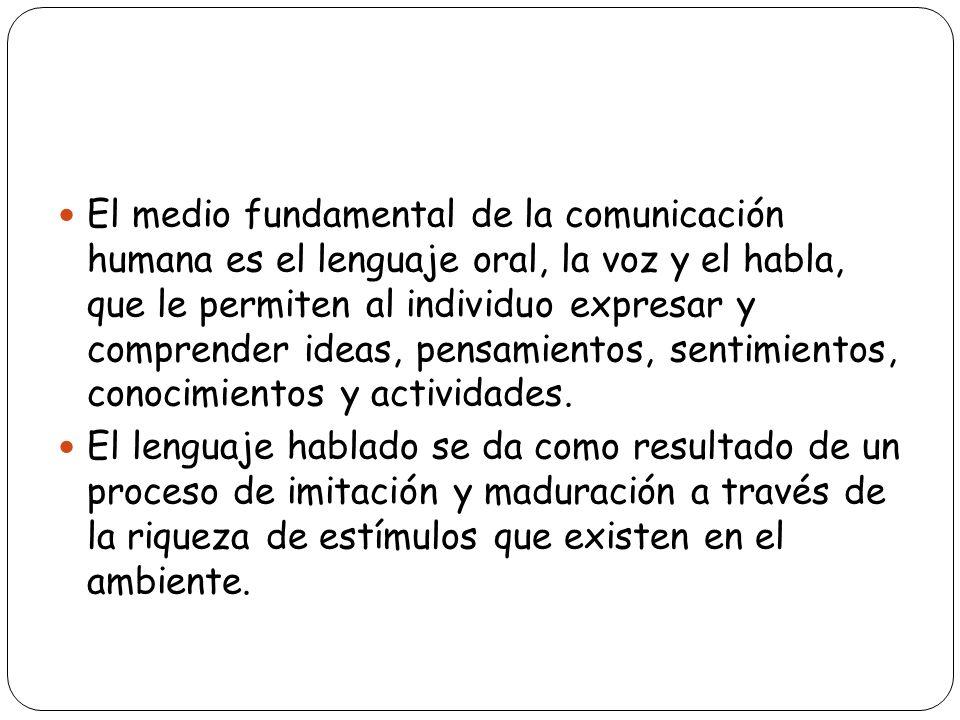 El medio fundamental de la comunicación humana es el lenguaje oral, la voz y el habla, que le permiten al individuo expresar y comprender ideas, pensa