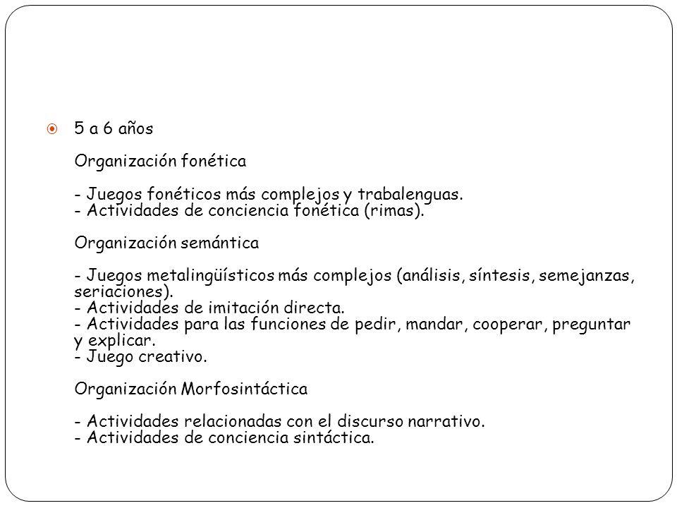 5 a 6 años Organización fonética - Juegos fonéticos más complejos y trabalenguas. - Actividades de conciencia fonética (rimas). Organización semántica