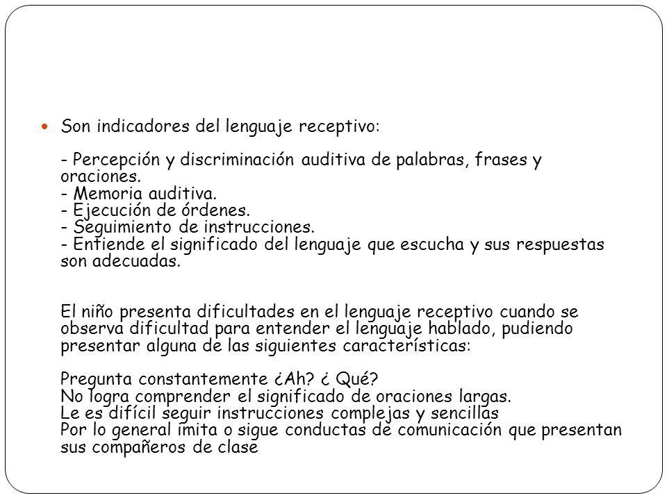 Son indicadores del lenguaje receptivo: - Percepción y discriminación auditiva de palabras, frases y oraciones. - Memoria auditiva. - Ejecución de órd