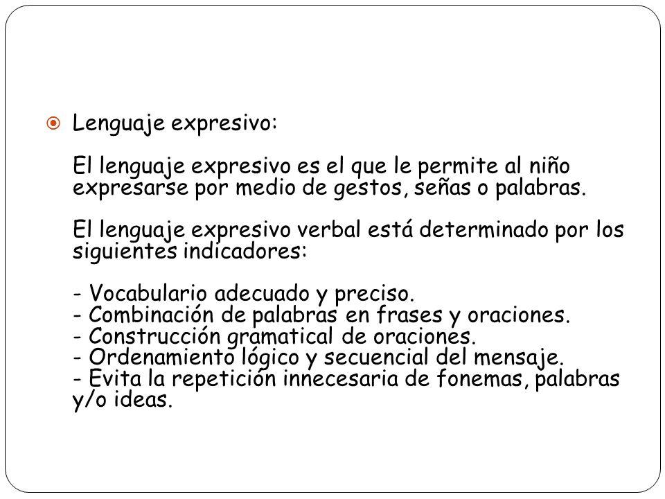 Lenguaje expresivo: El lenguaje expresivo es el que le permite al niño expresarse por medio de gestos, señas o palabras. El lenguaje expresivo verbal
