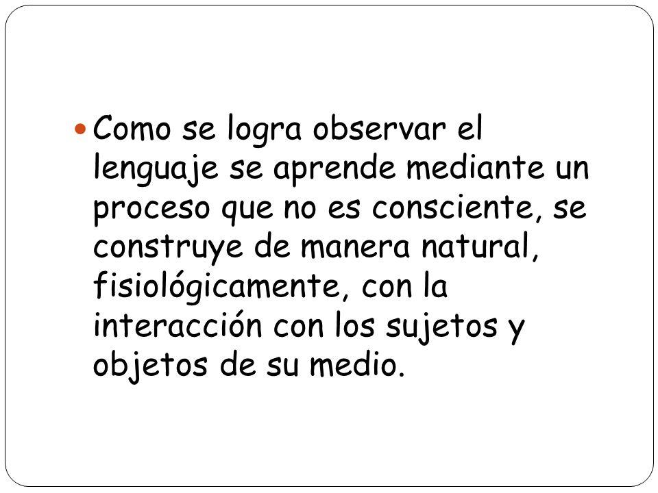 Como se logra observar el lenguaje se aprende mediante un proceso que no es consciente, se construye de manera natural, fisiológicamente, con la inter