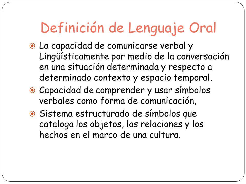 Definición de Lenguaje Oral La capacidad de comunicarse verbal y Lingüísticamente por medio de la conversación en una situación determinada y respecto