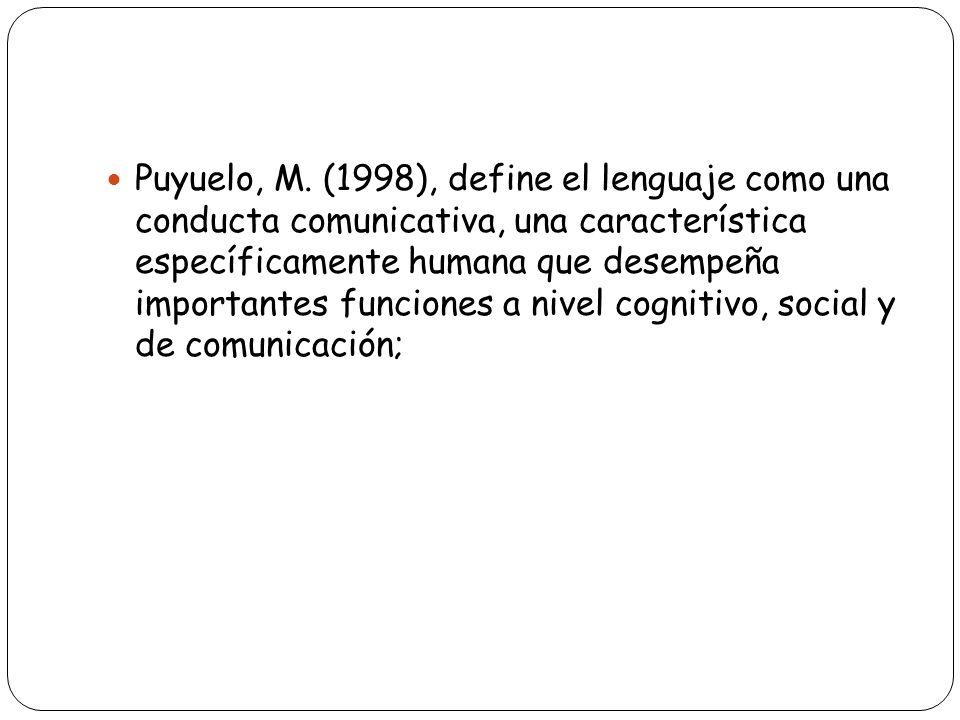 Puyuelo, M. (1998), define el lenguaje como una conducta comunicativa, una característica específicamente humana que desempeña importantes funciones a