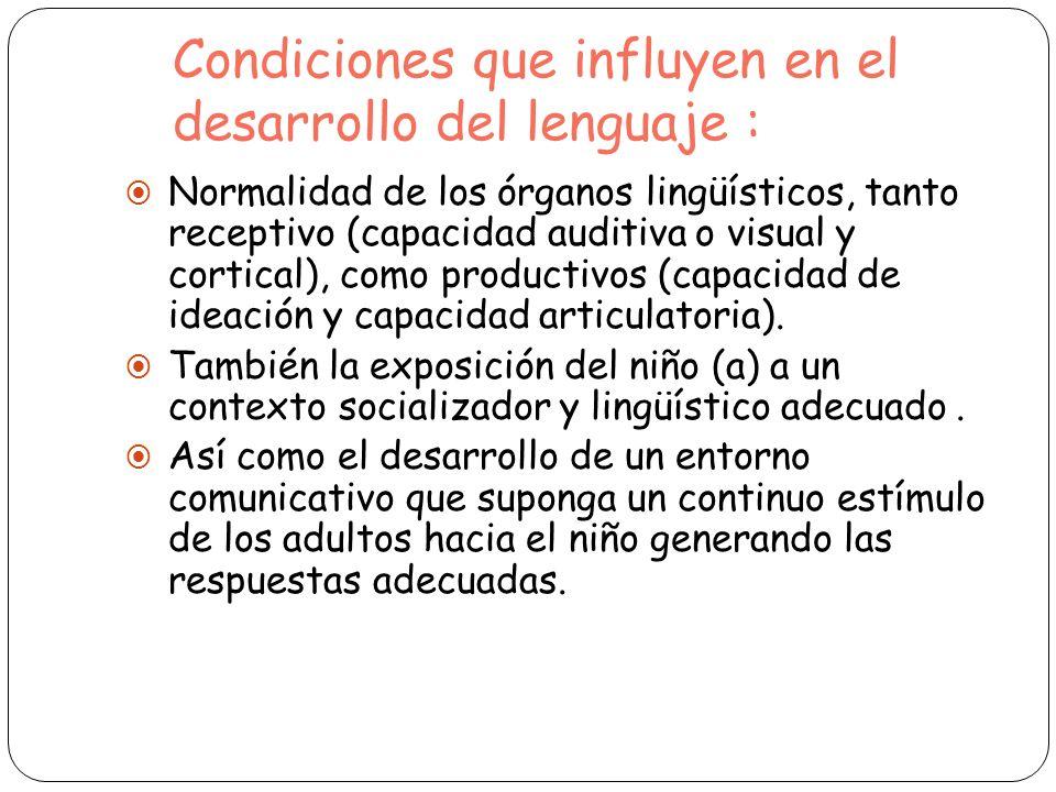 Condiciones que influyen en el desarrollo del lenguaje : Normalidad de los órganos lingüísticos, tanto receptivo (capacidad auditiva o visual y cortic
