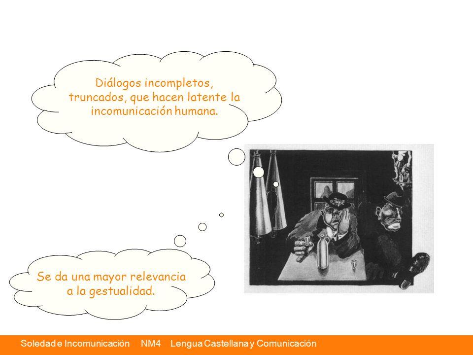 Soledad e Incomunicación NM4 Lengua Castellana y Comunicación Diálogos incompletos, truncados, que hacen latente la incomunicación humana. Se da una m