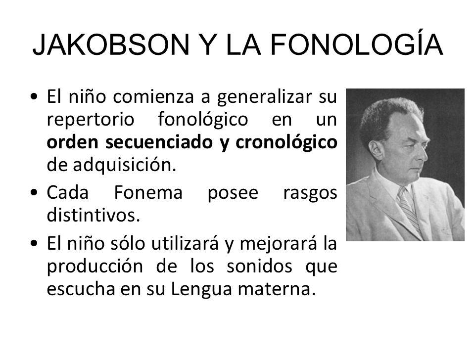 JAKOBSON Y LA FONOLOGÍA El niño comienza a generalizar su repertorio fonológico en un orden secuenciado y cronológico de adquisición. Cada Fonema pose