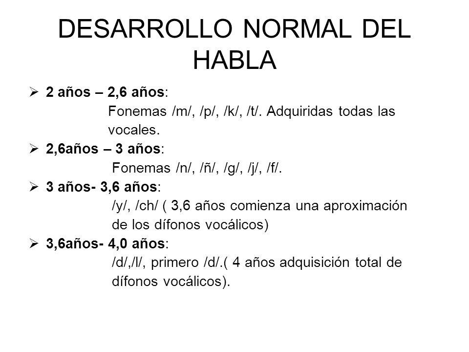 DESARROLLO NORMAL DEL HABLA 2 años – 2,6 años: Fonemas /m/, /p/, /k/, /t/. Adquiridas todas las vocales. 2,6años – 3 años: Fonemas /n/, /ñ/, /g/, /j/,