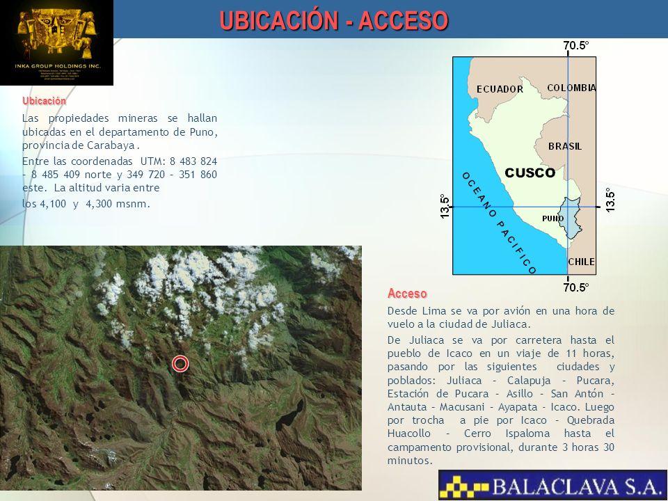 Ubicación Las propiedades mineras se hallan ubicadas en el departamento de Puno, provincia de Carabaya. Entre las coordenadas UTM: 8 483 824 – 8 485 4
