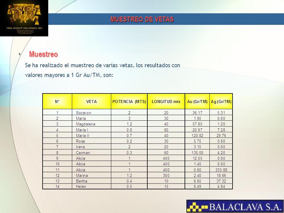 Muestreo Muestreo Se ha realizado el muestreo de varias vetas, los resultados con valores mayores a 1 Gr Au/TM, son: MUESTREO DE VETAS