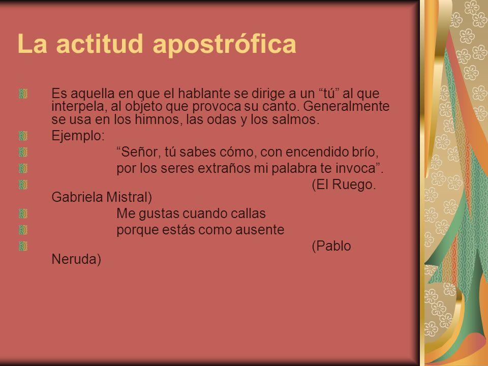 ACTITUD DE CANCIÓN Es la más lírica de todas y la encontramos en las obras poéticas llamadas canciones.
