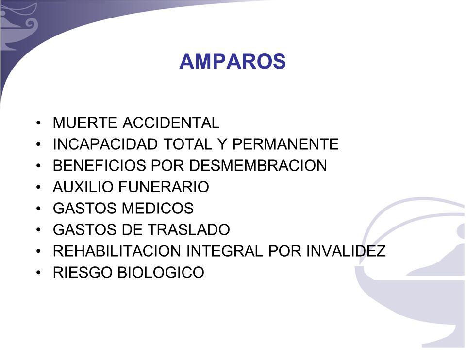 3 AMPAROS MUERTE ACCIDENTAL INCAPACIDAD TOTAL Y PERMANENTE BENEFICIOS POR DESMEMBRACION AUXILIO FUNERARIO GASTOS MEDICOS GASTOS DE TRASLADO REHABILITACION INTEGRAL POR INVALIDEZ RIESGO BIOLOGICO