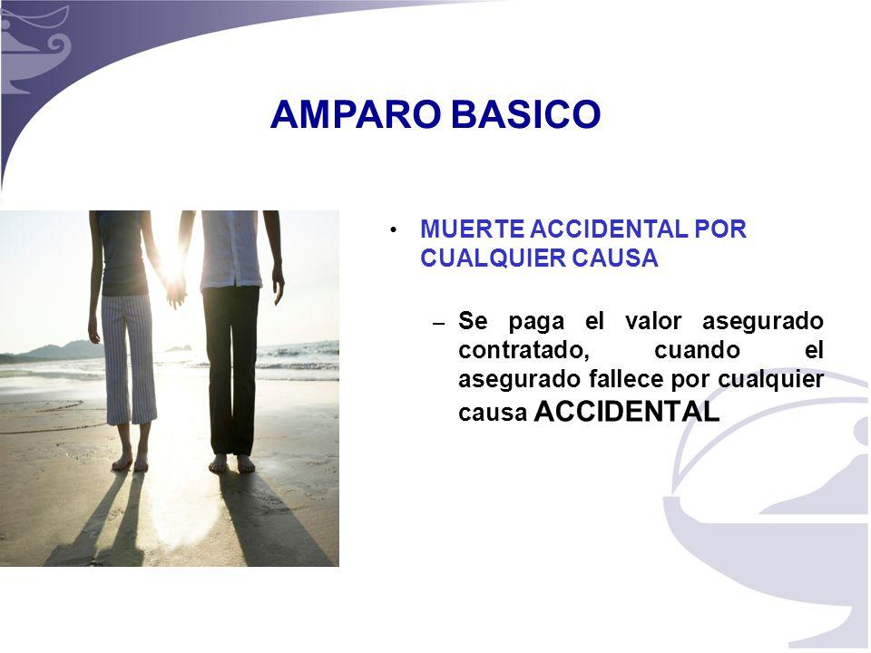 4 MUERTE ACCIDENTAL POR CUALQUIER CAUSA – Se paga el valor asegurado contratado, cuando el asegurado fallece por cualquier causa ACCIDENTAL AMPARO BASICO