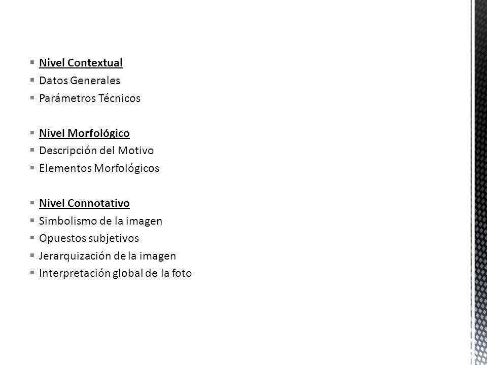 Nivel Contextual Datos Generales Parámetros Técnicos Nivel Morfológico Descripción del Motivo Elementos Morfológicos Nivel Connotativo Simbolismo de l