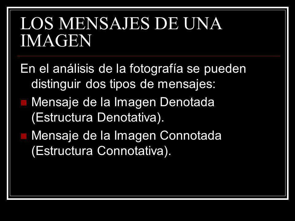LOS MENSAJES DE UNA IMAGEN En el análisis de la fotografía se pueden distinguir dos tipos de mensajes: Mensaje de la Imagen Denotada (Estructura Denot