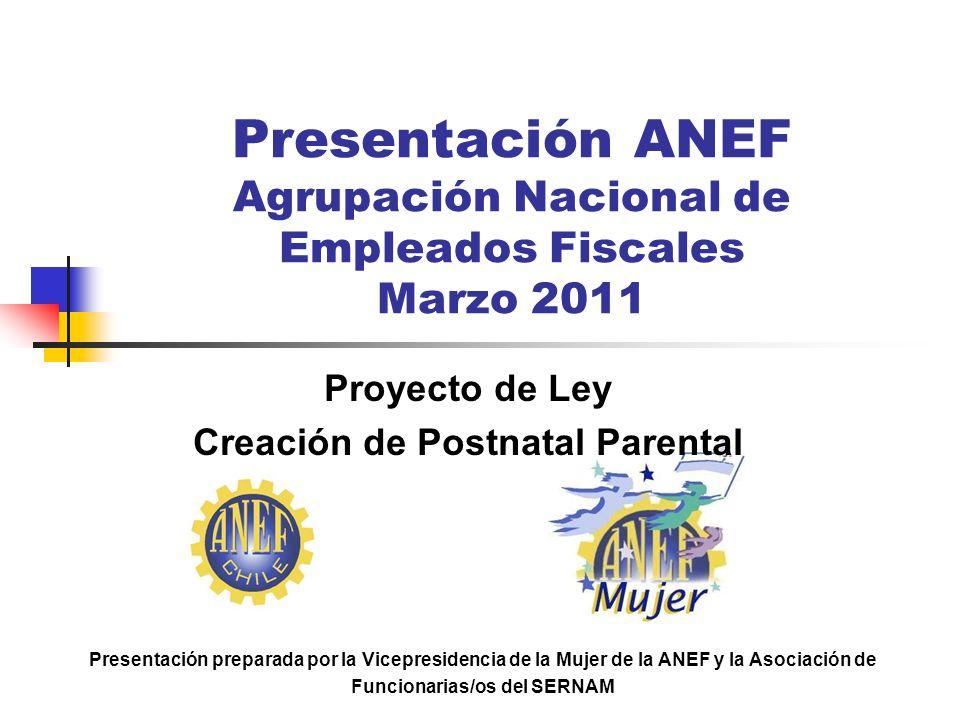 Presentación ANEF Agrupación Nacional de Empleados Fiscales Marzo 2011 Proyecto de Ley Creación de Postnatal Parental Presentación preparada por la Vi