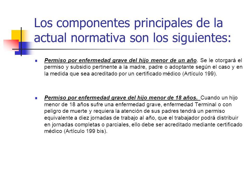 Los componentes principales de la actual normativa son los siguientes: Permiso por enfermedad grave del hijo menor de un año. Se le otorgará el permis
