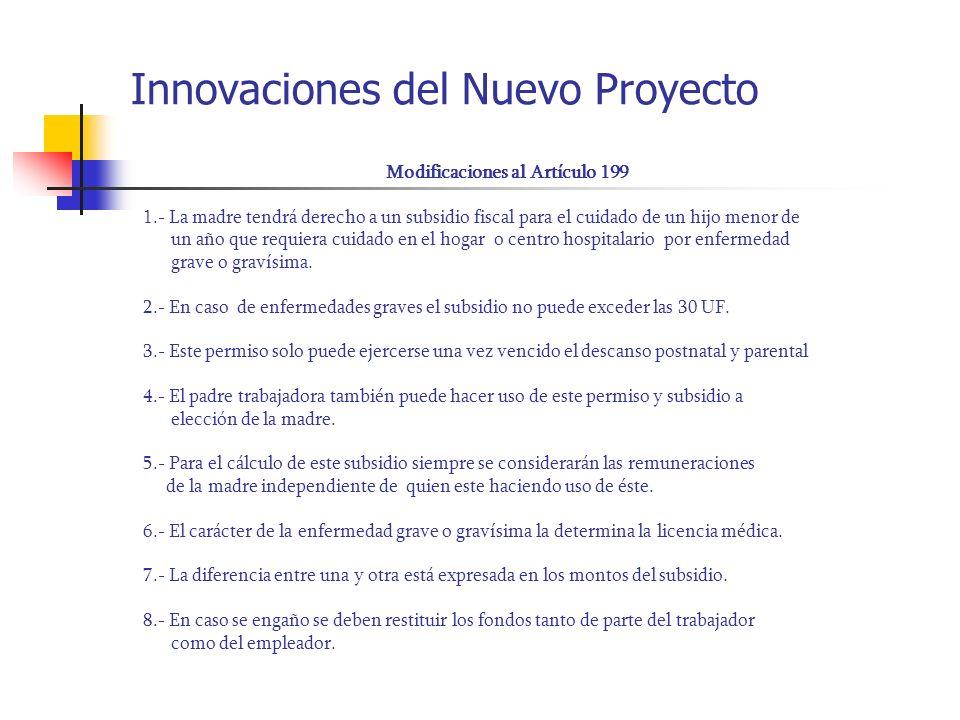 Innovaciones del Nuevo Proyecto Modificaciones al Artículo 199 1.- La madre tendrá derecho a un subsidio fiscal para el cuidado de un hijo menor de un