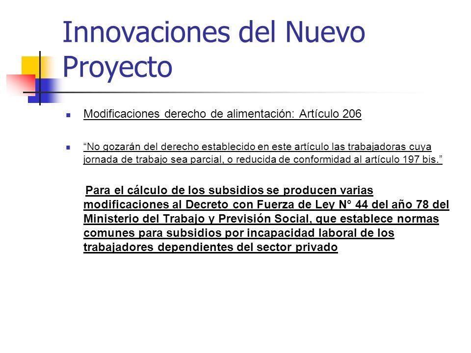 Innovaciones del Nuevo Proyecto Modificaciones derecho de alimentación: Artículo 206 No gozarán del derecho establecido en este artículo las trabajado