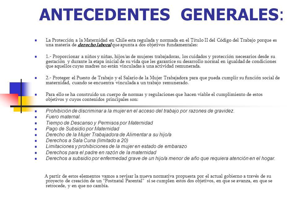 ANTECEDENTES GENERALES: La Protección a la Maternidad en Chile esta regulada y normada en el Título II del Código del Trabajo porque es una materia de