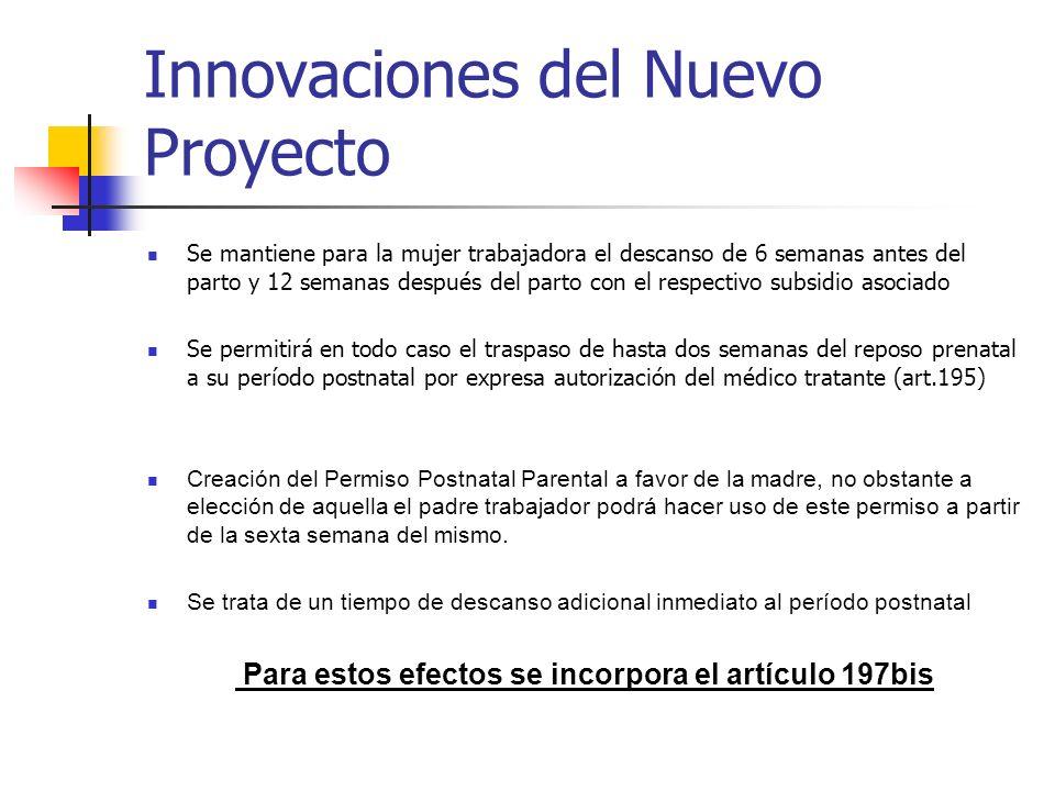 Innovaciones del Nuevo Proyecto Se mantiene para la mujer trabajadora el descanso de 6 semanas antes del parto y 12 semanas después del parto con el r