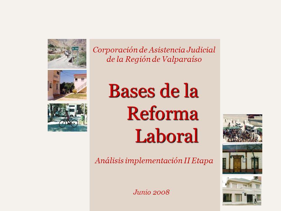 Corporación de Asistencia Judicial de la Región de Valparaíso Junio 2008 Bases de la Reforma Laboral Análisis implementación II Etapa