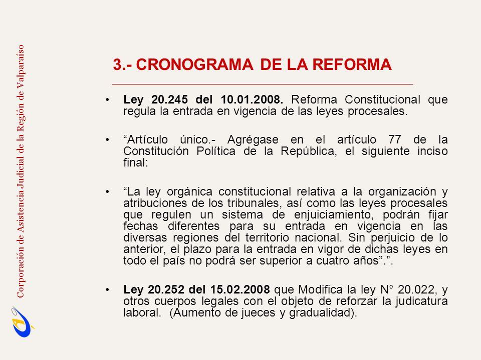 3.- CRONOGRAMA DE LA REFORMA Corporación de Asistencia Judicial de la Región de Valparaíso Ley 20.245 del 10.01.2008. Reforma Constitucional que regul