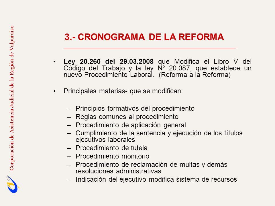 3.- CRONOGRAMA DE LA REFORMA Corporación de Asistencia Judicial de la Región de Valparaíso Ley 20.260 del 29.03.2008 que Modifica el Libro V del Códig