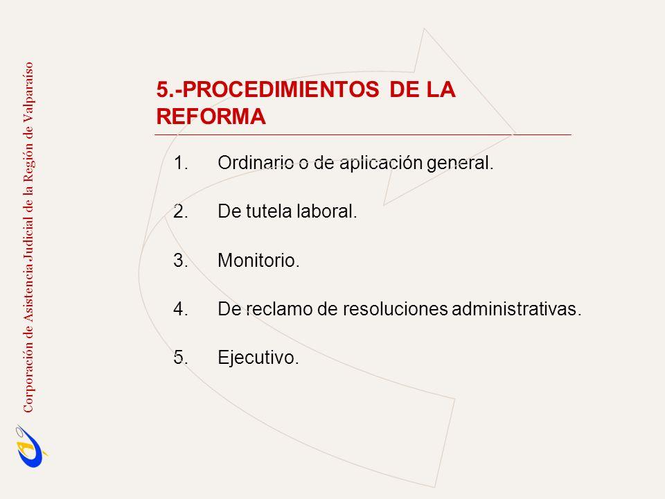 Corporación de Asistencia Judicial de la Región de Valparaíso 1.Ordinario o de aplicación general. 2.De tutela laboral. 3.Monitorio. 4.De reclamo de r