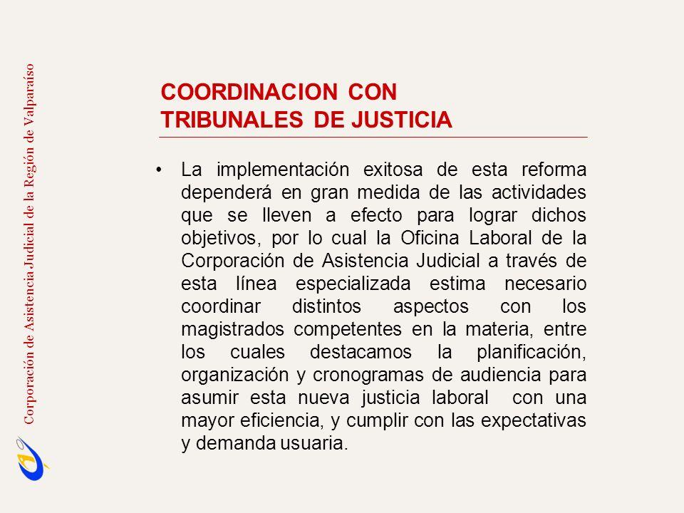 COORDINACION CON TRIBUNALES DE JUSTICIA Corporación de Asistencia Judicial de la Región de Valparaíso La implementación exitosa de esta reforma depend