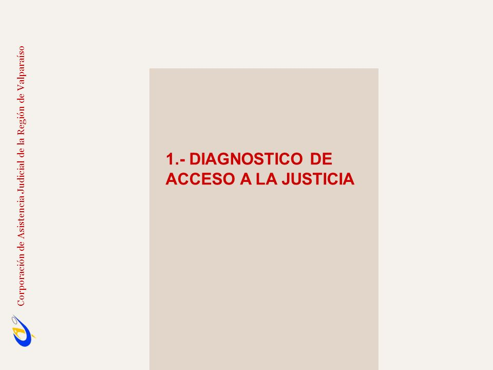 1.- DIAGNOSTICO DE ACCESO A LA JUSTICIA Sólo 20 tribunales especializados en el país; 11 en la Región Metropolitana.