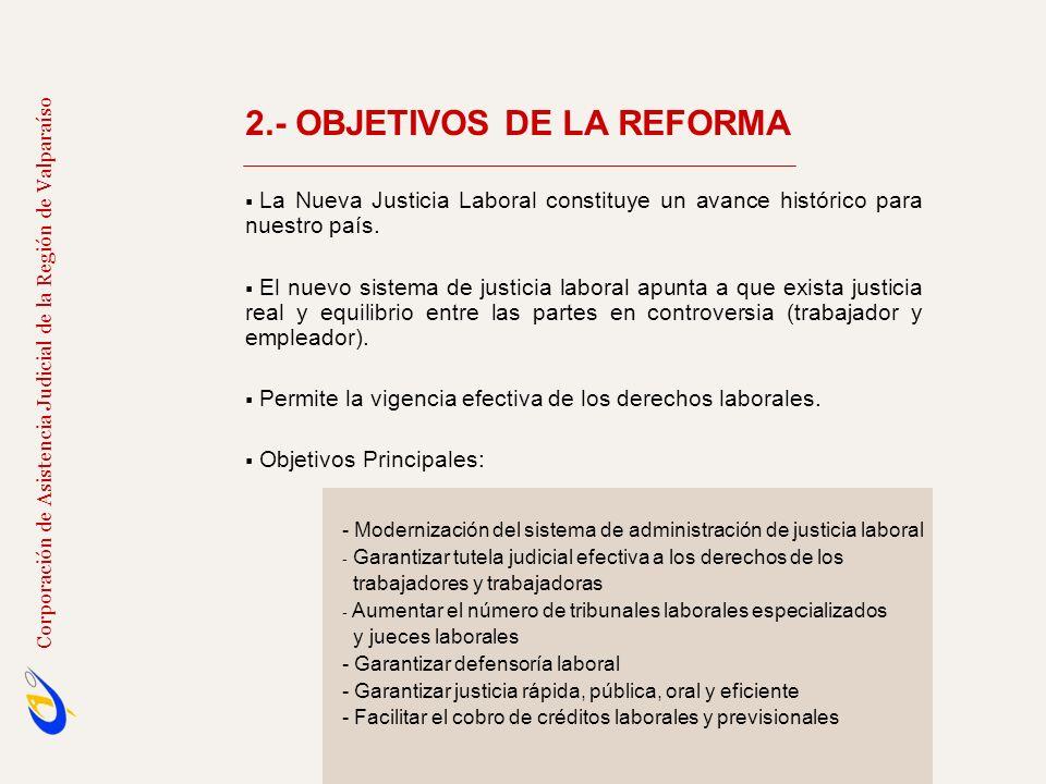 2.- OBJETIVOS DE LA REFORMA Lograr un impacto cualitativo y cuantitativo en la administración de justicia en el ámbito laboral.