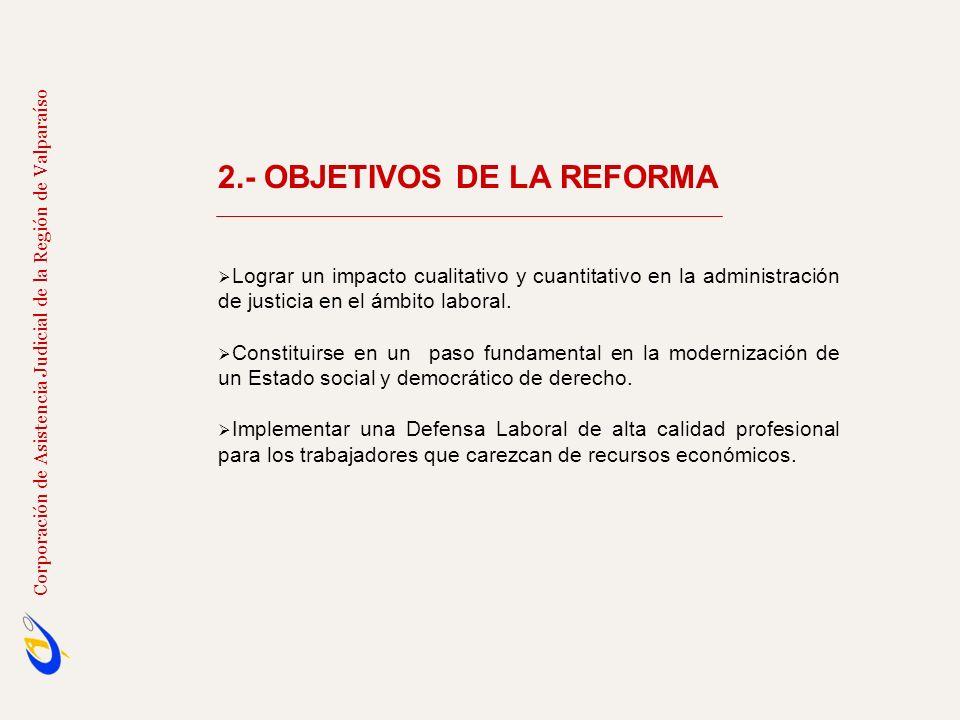 2.- OBJETIVOS DE LA REFORMA Lograr un impacto cualitativo y cuantitativo en la administración de justicia en el ámbito laboral. Constituirse en un pas