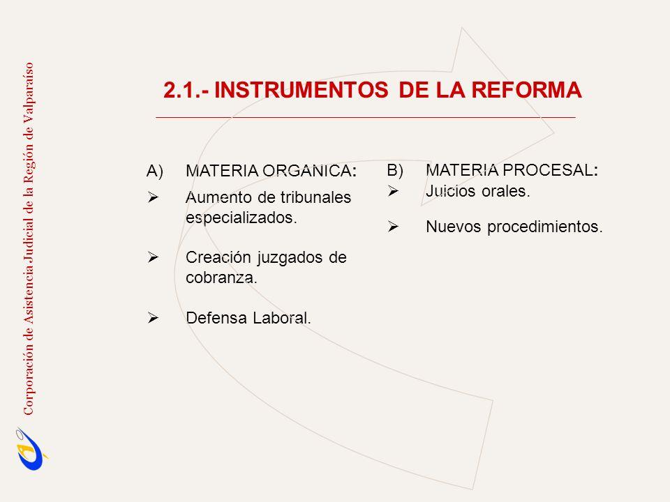 A)MATERIA ORGANICA: Aumento de tribunales especializados. Creación juzgados de cobranza. Defensa Laboral. B)MATERIA PROCESAL: Juicios orales. Nuevos p