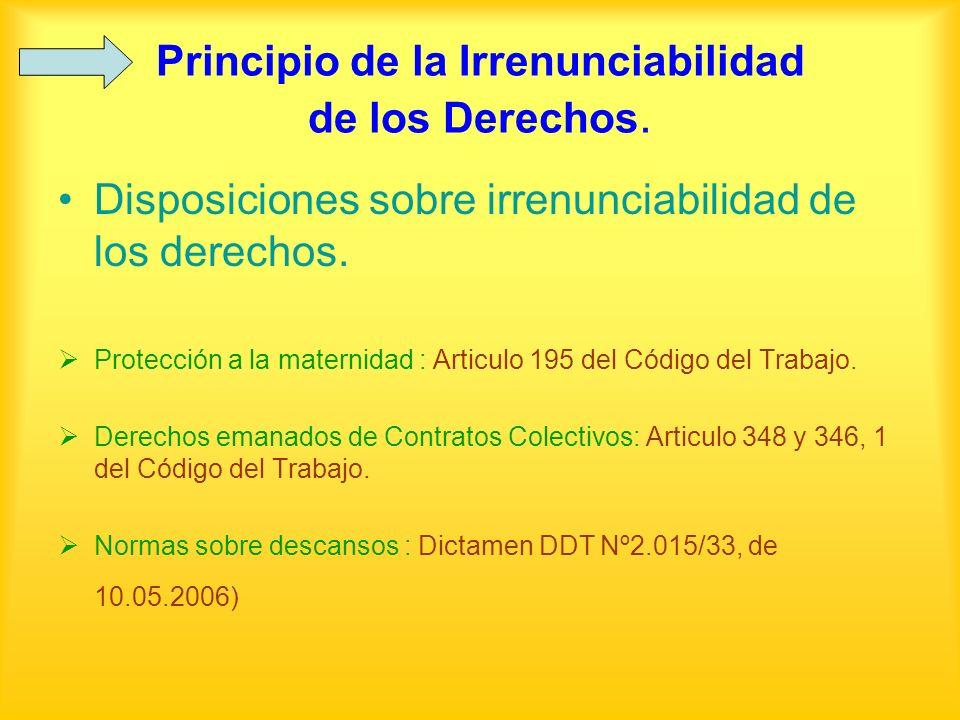 Principio de la Irrenunciabilidad de los Derechos. Disposiciones sobre irrenunciabilidad de los derechos. Protección a la maternidad : Articulo 195 de
