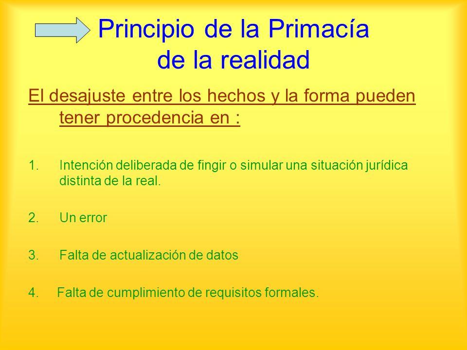 Principio de la Primacía de la realidad El desajuste entre los hechos y la forma pueden tener procedencia en : 1.Intención deliberada de fingir o simu