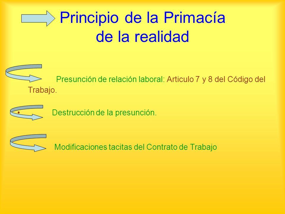 Principio de la Primacía de la realidad Presunción de relación laboral: Articulo 7 y 8 del Código del Trabajo. Destrucción de la presunción. Modificac