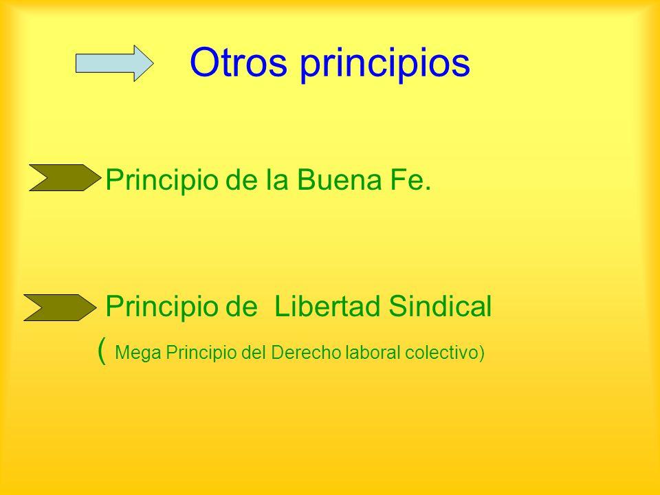 Otros principios Principio de la Buena Fe. Principio de Libertad Sindical ( Mega Principio del Derecho laboral colectivo)
