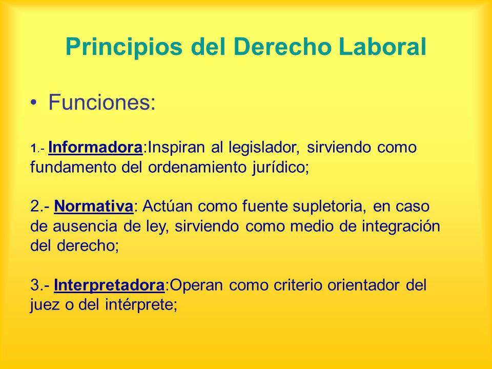 Principios del Derecho Laboral Funciones: 1.- Informadora:Inspiran al legislador, sirviendo como fundamento del ordenamiento jurídico; 2.- Normativa: