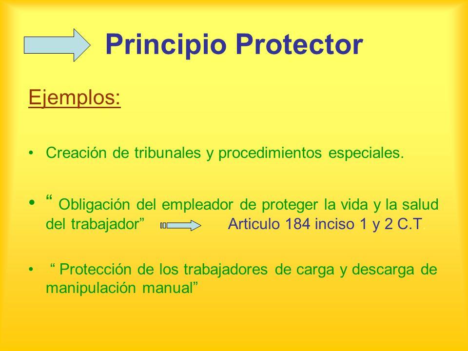 Principio Protector Ejemplos: Creación de tribunales y procedimientos especiales. Obligación del empleador de proteger la vida y la salud del trabajad