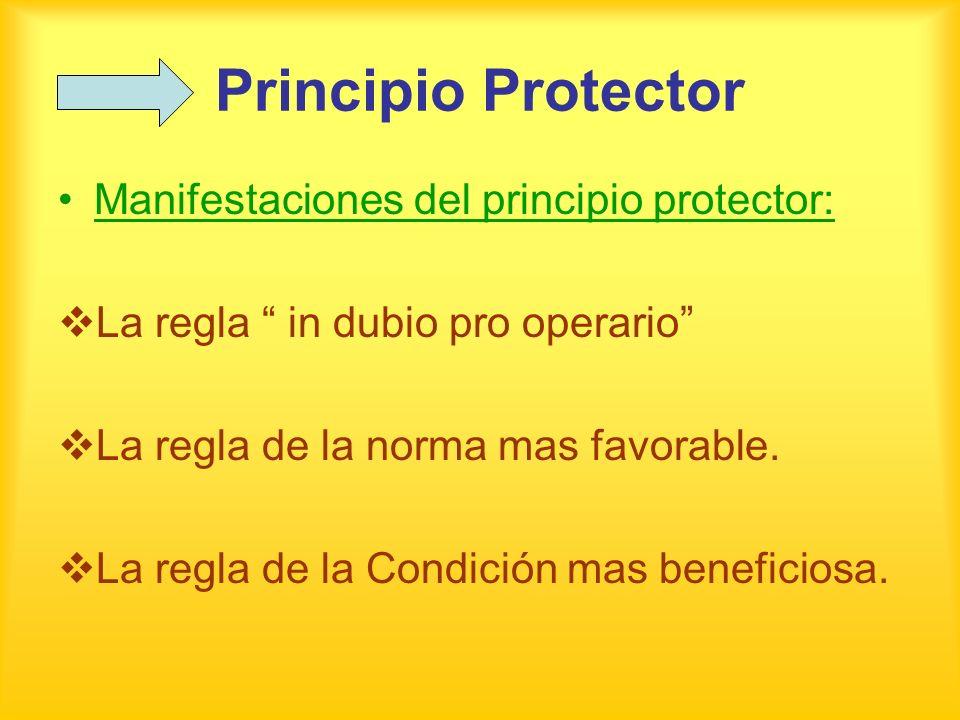 Principio Protector Manifestaciones del principio protector: La regla in dubio pro operario La regla de la norma mas favorable. La regla de la Condici