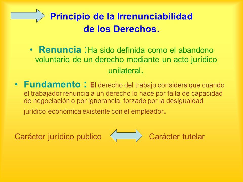 Principio de la Irrenunciabilidad de los Derechos. Renuncia : Ha sido definida como el abandono voluntario de un derecho mediante un acto jurídico uni