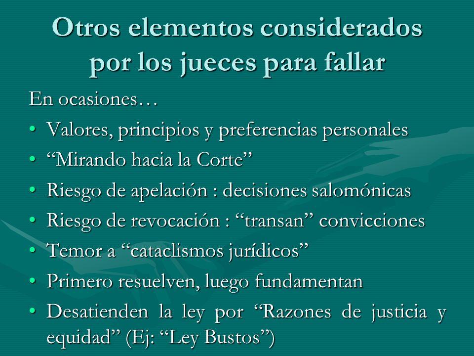 Otros elementos considerados por los jueces para fallar En ocasiones… Valores, principios y preferencias personalesValores, principios y preferencias