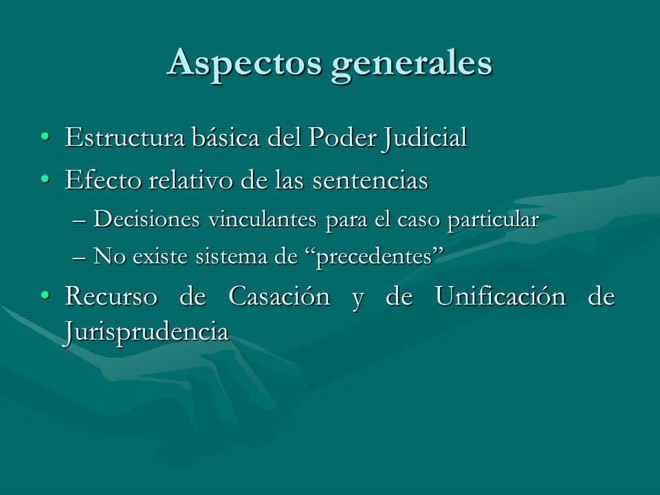 Aspectos generales Estructura básica del Poder JudicialEstructura básica del Poder Judicial Efecto relativo de las sentenciasEfecto relativo de las se